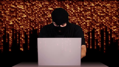 Hacker Working Table Arrested 2 Stock Video Footage