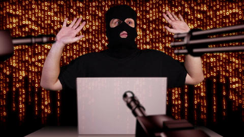 Hacker Working Table Arrested 2 Footage