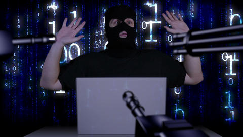Hacker Working Table Arrested 8 Footage