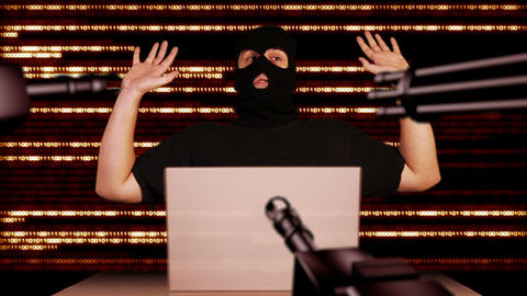Hacker Working Table Arrested 10 Stock Video Footage