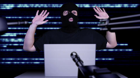 Hacker Working Table Arrested 12 Stock Video Footage
