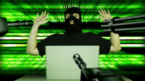 Hacker Working Table Arrested 14 Stock Video Footage