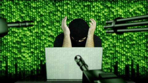 Hacker Working Table Arrested 18 Stock Video Footage