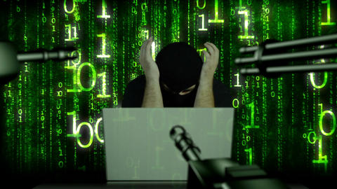 Hacker Working Table Arrested 22 Stock Video Footage