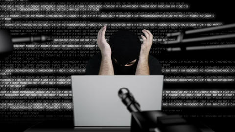 Hacker Working Table Arrested 24 Stock Video Footage