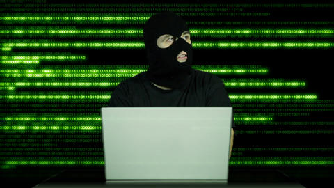Hacker Working Table Arrested 26 Stock Video Footage