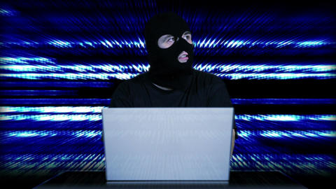Hacker Working Table Arrested 30 Stock Video Footage