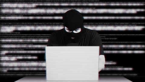 Hacker Working Table Arrested Matrix 3 Stock Video Footage