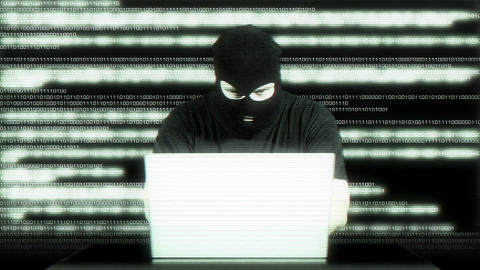 Hacker Working Table Arrested Matrix 7 Stock Video Footage