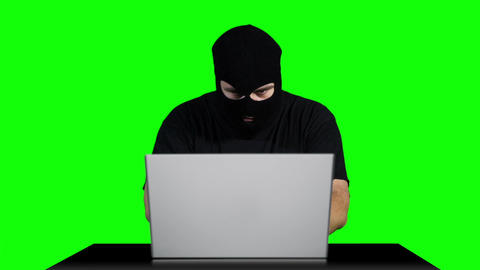 Hacker Working Table Being Attacked Greenscren 6 Stock Video Footage