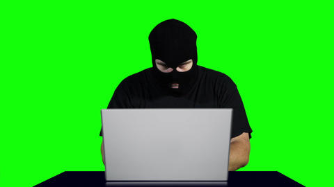 Hacker Working Table Fails Greenscren 2 Footage