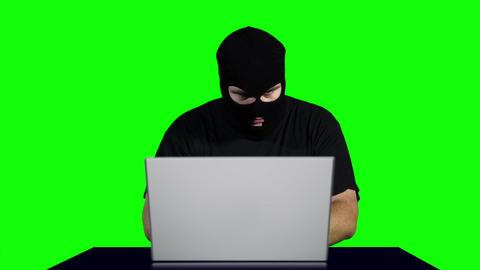 Hacker Working Table Fails Greenscren 2 Stock Video Footage