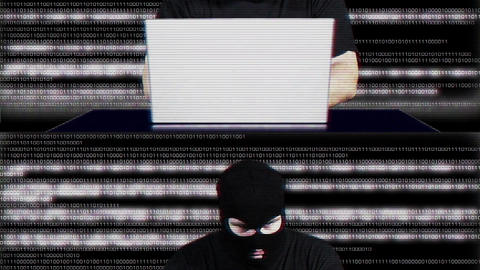 Hacker Working Table Fails Matrix 2 Stock Video Footage