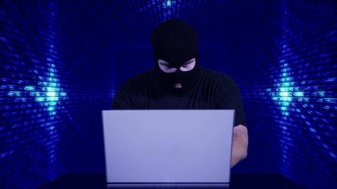 Hacker Working Table Fails Tunnel BG 3 Stock Video Footage