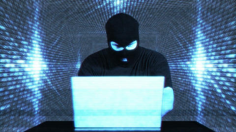 Hacker Working Table Fails Tunnel Matrix 1 Stock Video Footage