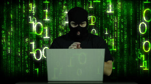 Hacker Working Table Success 7 Stock Video Footage