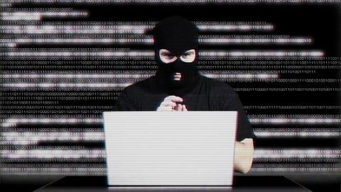 Hacker Working Table Success Matrix 3 Stock Video Footage