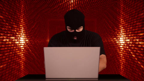 Hacker Working Table Success Tunnel BG 1 Stock Video Footage