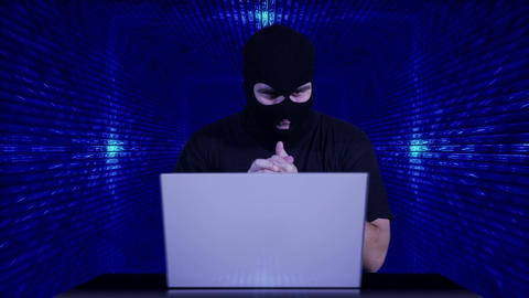 Hacker Working Table Success Tunnel BG 3 Stock Video Footage