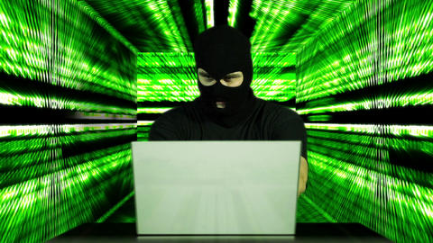 Hacker Working Table Success Tunnel BG 5 Stock Video Footage