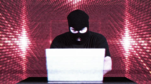 Hacker Working Table Success Tunnel Matrix 1 Stock Video Footage