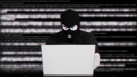 Nervous Hacker Working Hard Table Matrix 2 Stock Video Footage