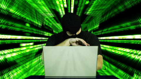 Nervous Hacker Working Table Tunnel BG 5 Stock Video Footage