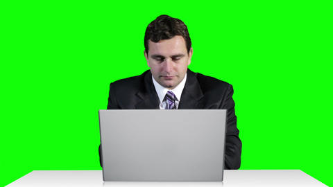 Young Businessman Overwork Table Computer Greenscren 20 Stock Video Footage