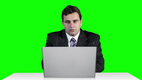Young Businessman Overwork Table Computer Greenscren 20 Footage