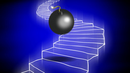 The bomb goes down the staircase Animation