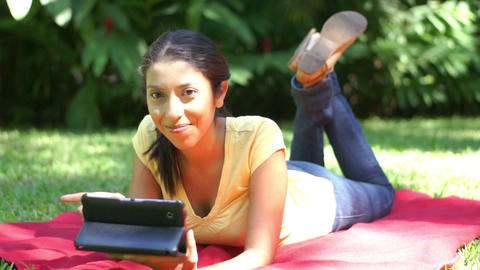 Woman using a tablet Footage