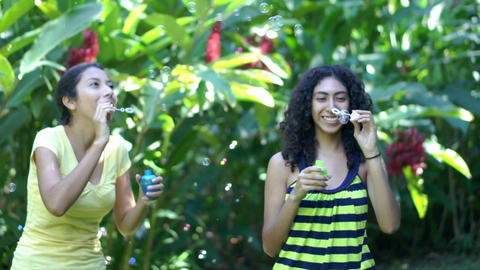 Young women blowing soap bubbles Stock Video Footage