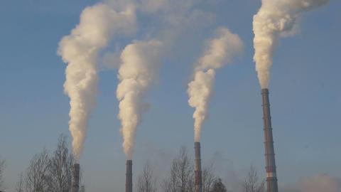 Smokestacks 03 static Stock Video Footage