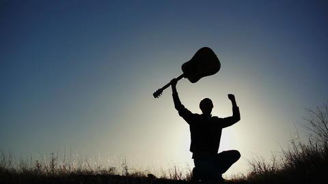 Silhouette Guitar in Air Achievement Footage