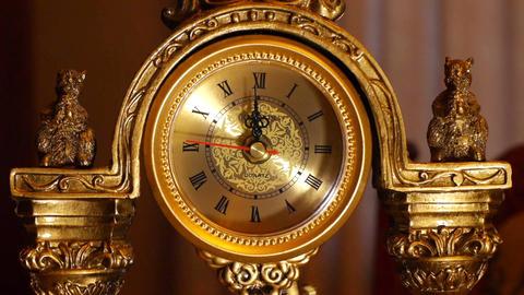 antique clock 12:00 Stock Video Footage