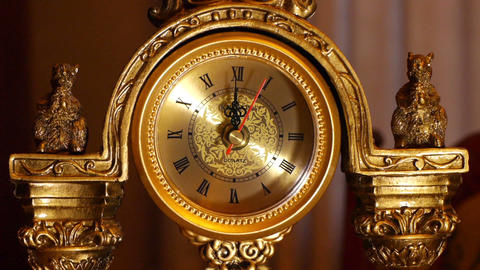 antique clock 12:00 Stock Video Footage