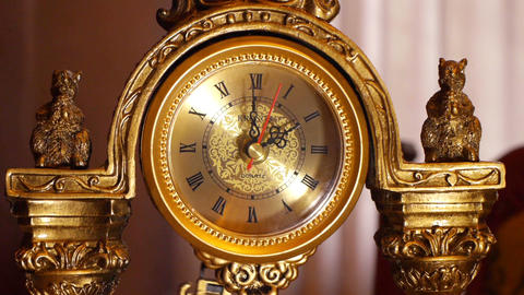 antique clock 2:00 Stock Video Footage