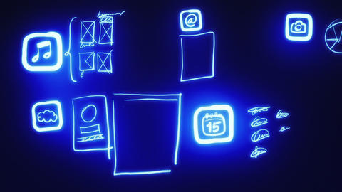 Mobile App Wireframing, Prototyping (Neon Blueprint) Stock Video Footage