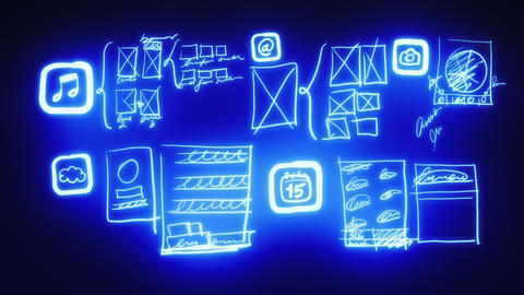 Mobile App Wireframing, Prototyping (Neon Blueprint) Animation