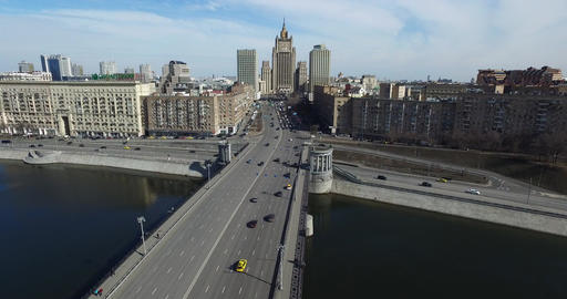 Aerial Moscow City Cityscape Cars River Bridge Footage