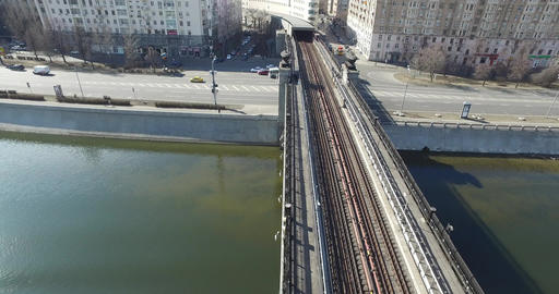 Aerial Transit River Bridge Moscow Subway Footage