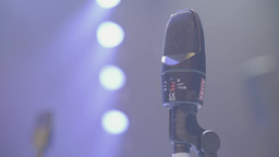Microphone on the stage before the show. Close-up Footage