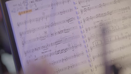 Music stand with notes during the concert (closeup) Live Action