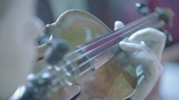 Violin in the hands of a violinist. Fingers play on the strings Footage