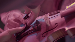 Violin set up before the performance . Close-up Footage