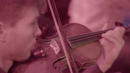 The violinist plays the violin. Close-up Footage
