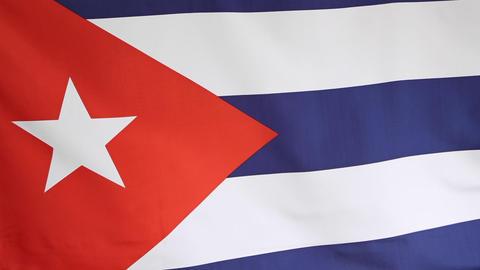 Closeup of national flag of Cuba Footage
