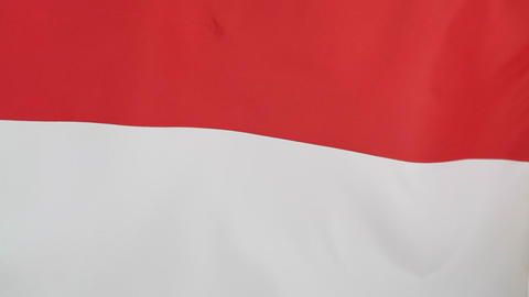 Closeup of an Indonesian flag in slow motion Footage