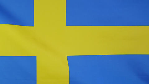 Closeup of flag of Sweden Footage