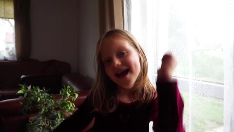 Funny dancing Girl dancing at home Footage